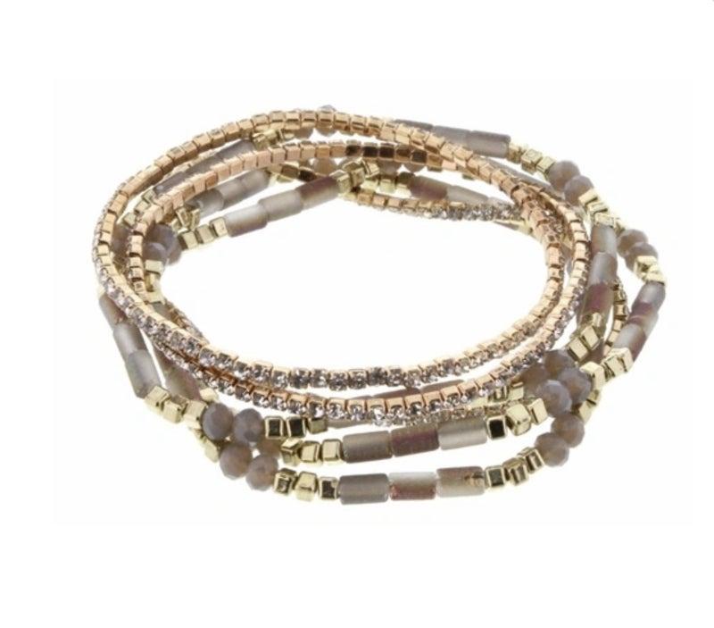 Gold/Grey Stackable Stretchy Bracelets
