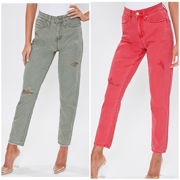Colored Dream High Rise Mom Fit Jeans *Final Sale*