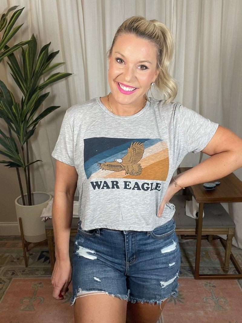 Game Day by Scarlet & Gold - War Eagle Stripe Crop Tee