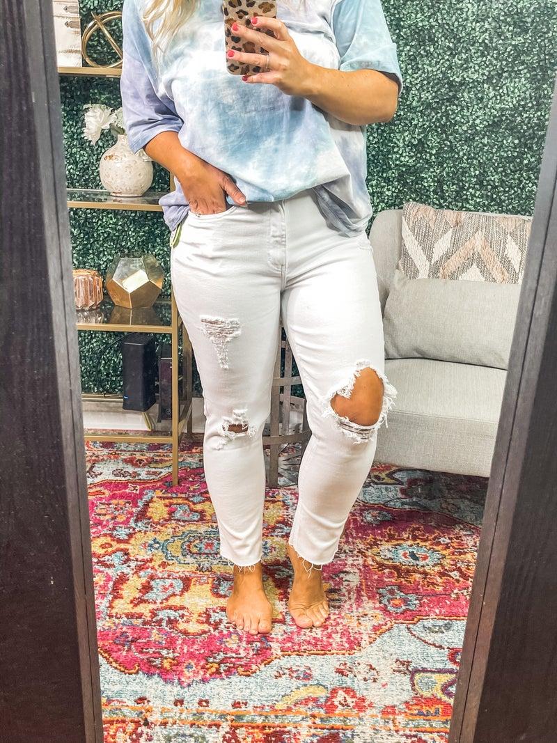 White YMI Slim Straight Ankle Denim