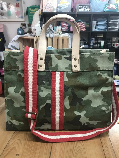 Camo striped tote with leather straps