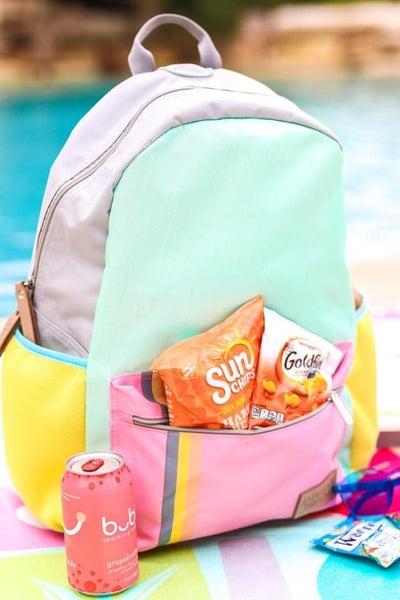 Mint color block backpack made by Jadelynn Brooks