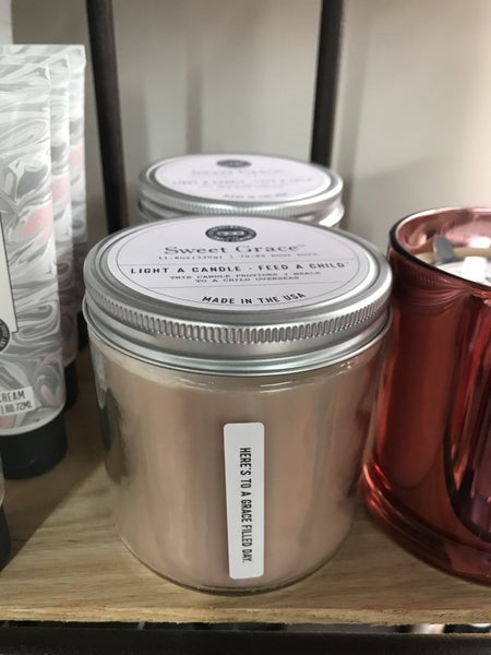Sweet Grace statement candle Here's to a grace filled day
