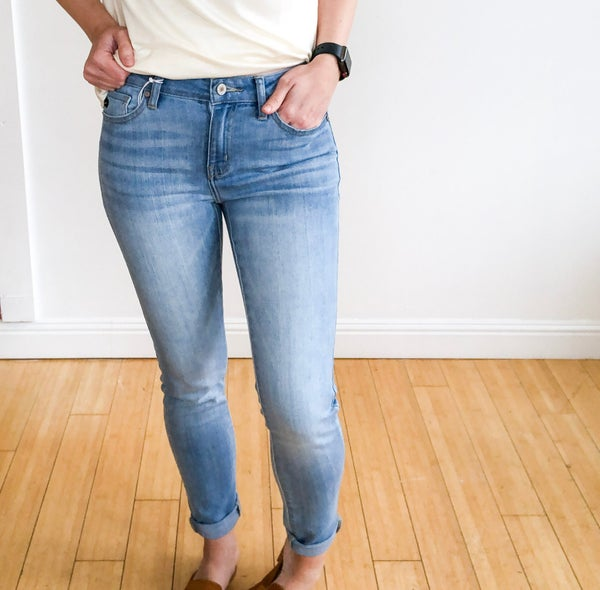 Winnie Light Wash Mid Rise Skinny by KanCan