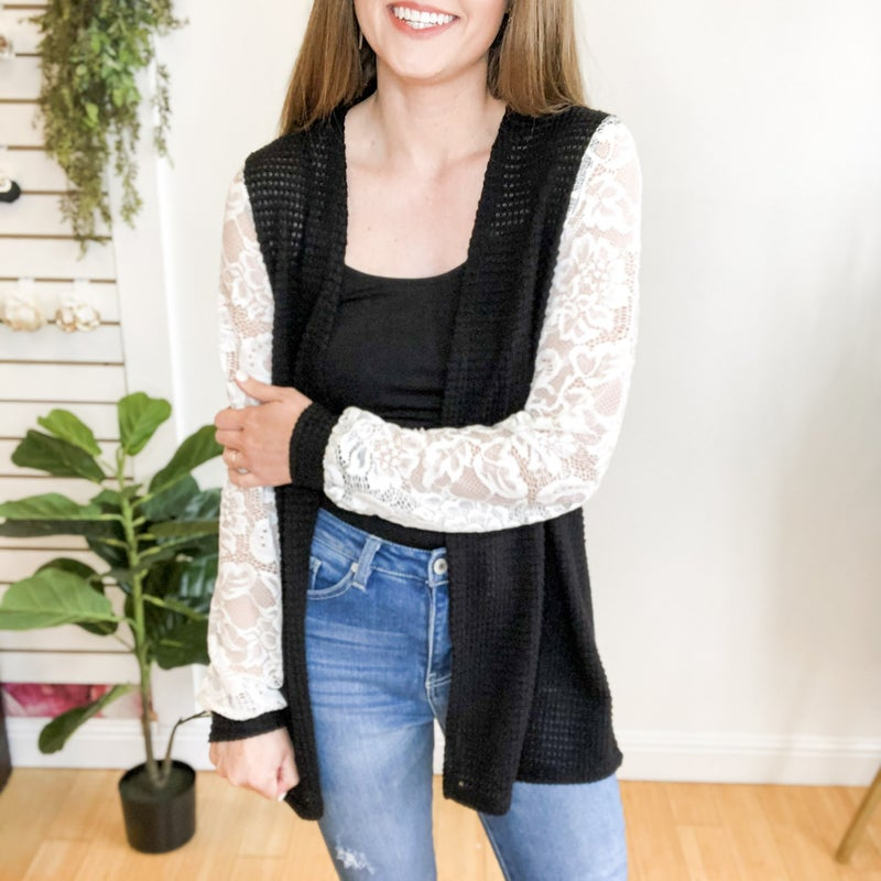 Lace Sleeve Cardigan - 3 colors