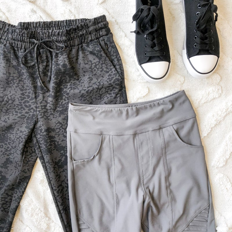 Athletic Pants in Black Leopard