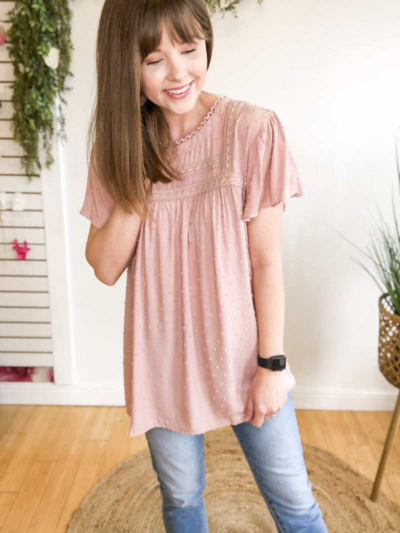 Blush Flutter Sleeve Top
