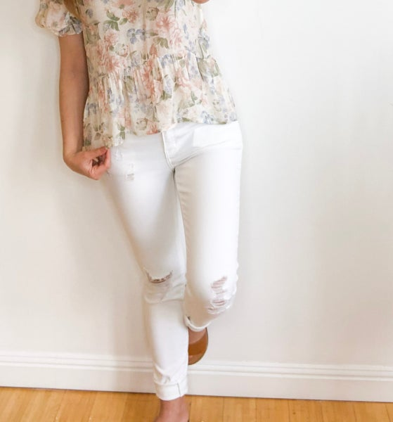White Distressed KanCan Skinny