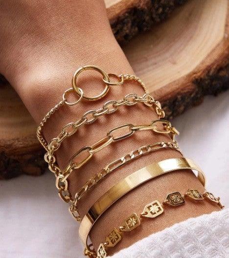 Simple Style Layered Bracelet Set  [6 pc]