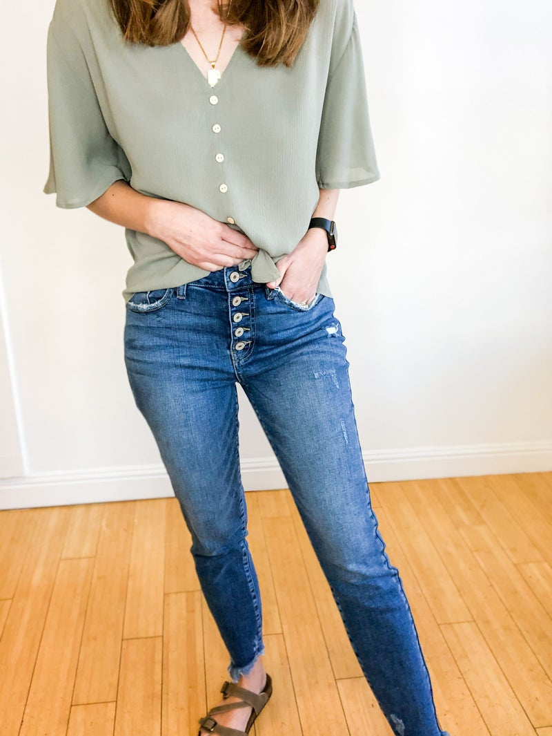 Sarah button Fly Skinny by KanCan