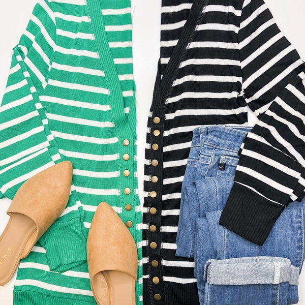 Spring Stripes Snap Cardigan -2 colors +