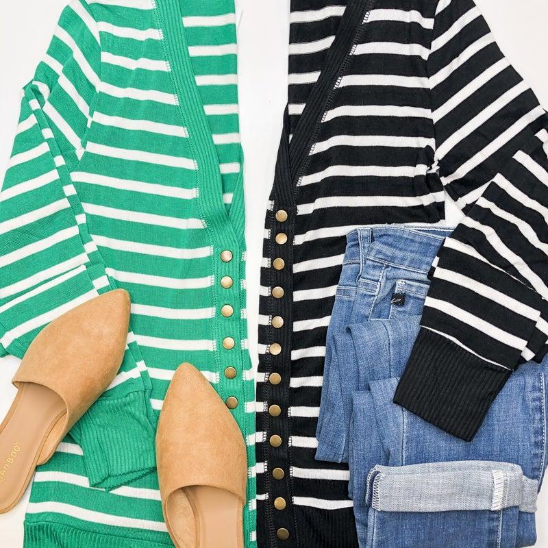 Spring Stripes Snap Cardigan -2 colors +
