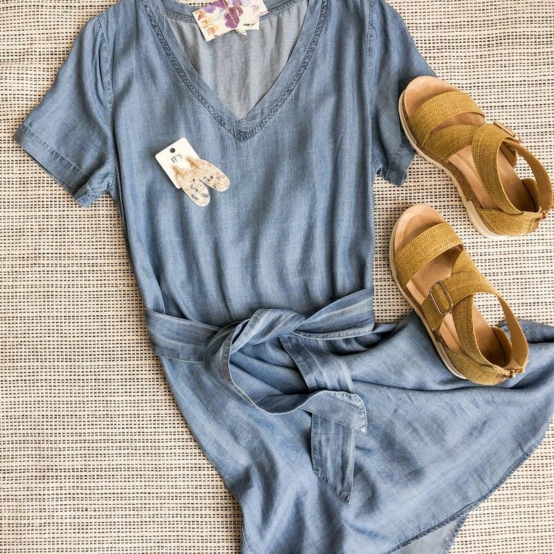 Chambray Tie Dress