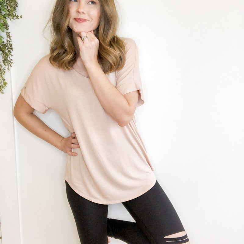 Luxe Cuffed  Tee Top +  -multiple colors