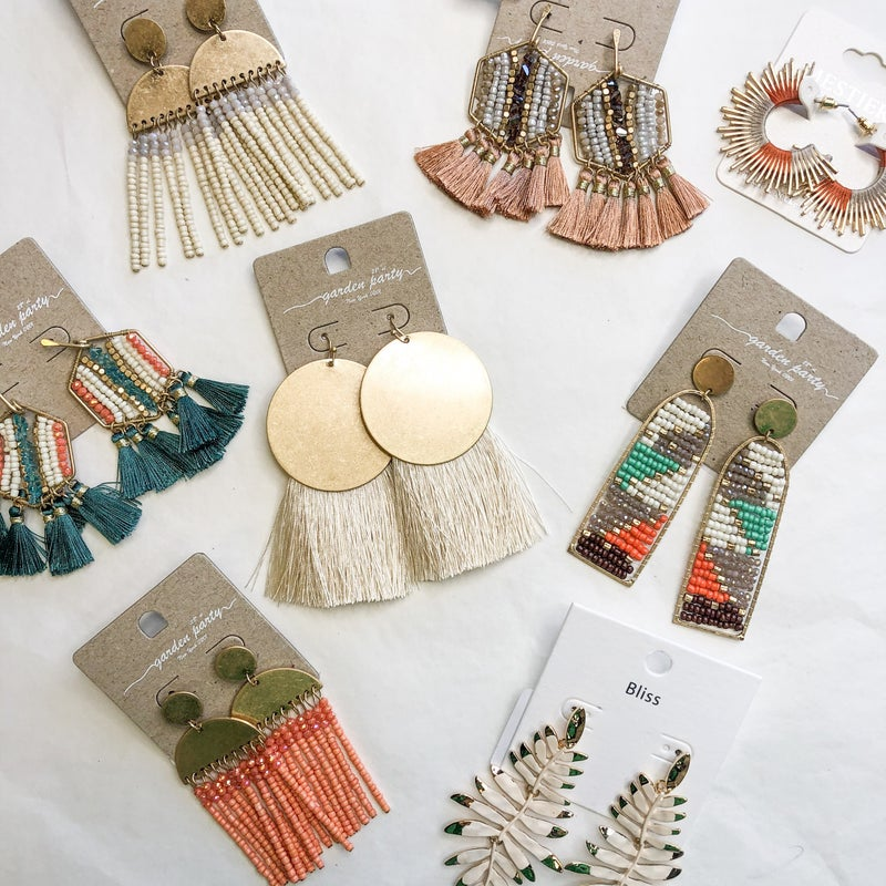 Boho Earring Collection in Jade & Cream