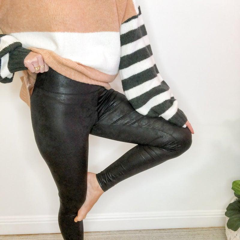 Faux Chinz Leather Leggings