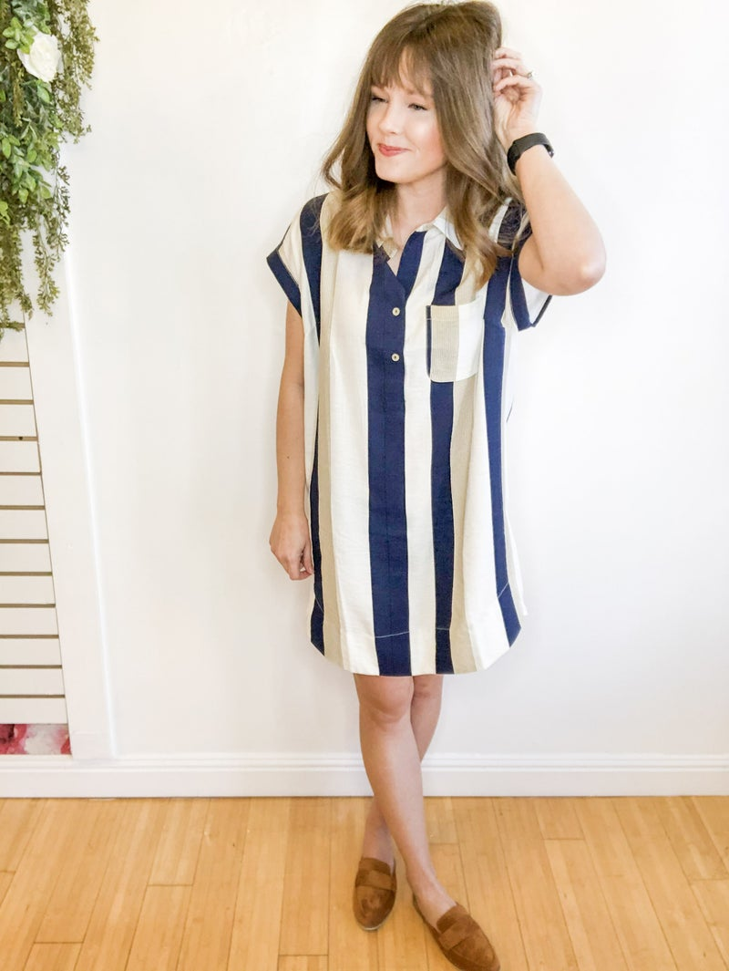 Navy Stripe Shirt Dress