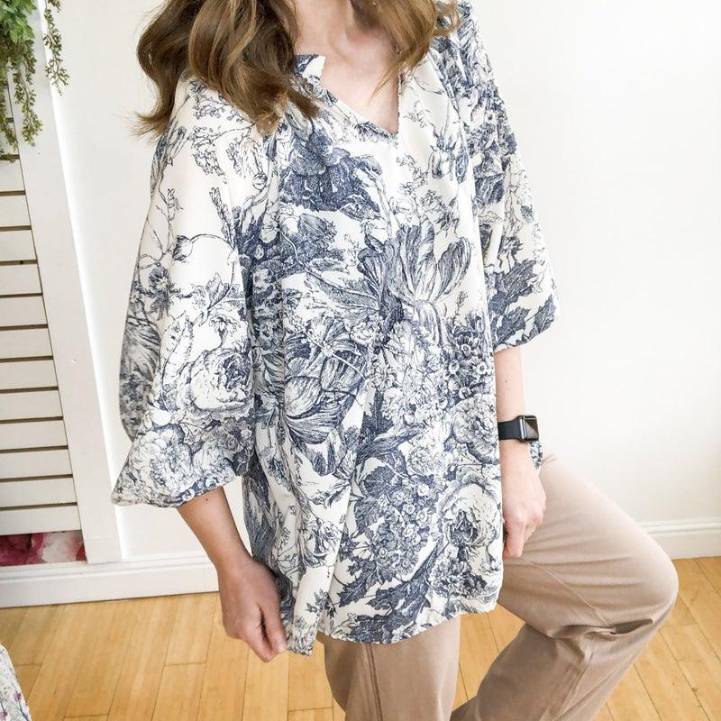 Navy + Cream Print Blouse