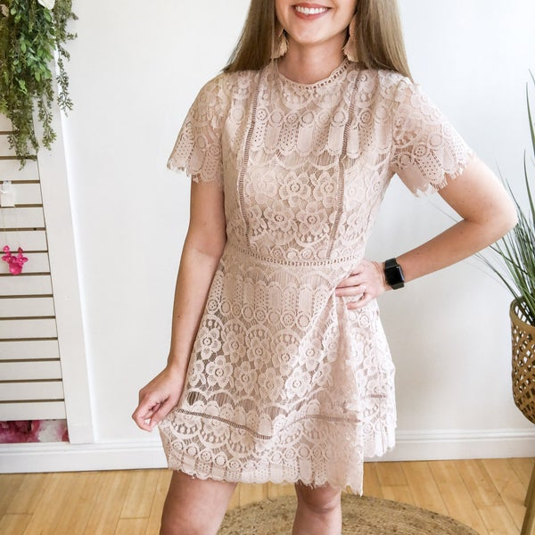 Beige Lace Mini Dress
