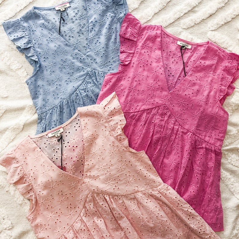 Pretty Eyelet Top - 3 colors