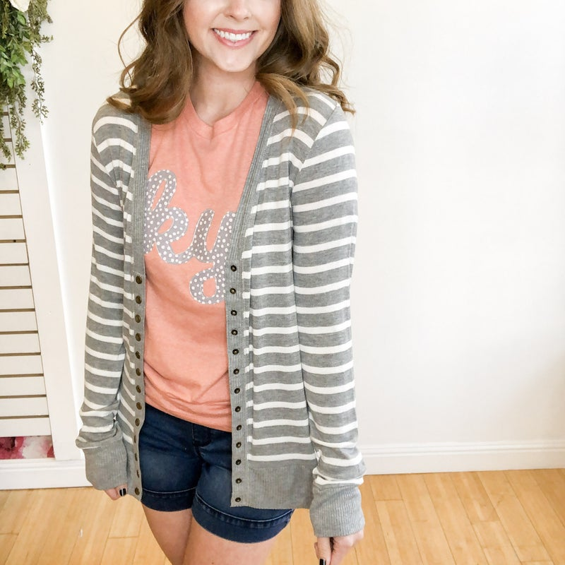 Striped Snap Cardigan - 2 Colors