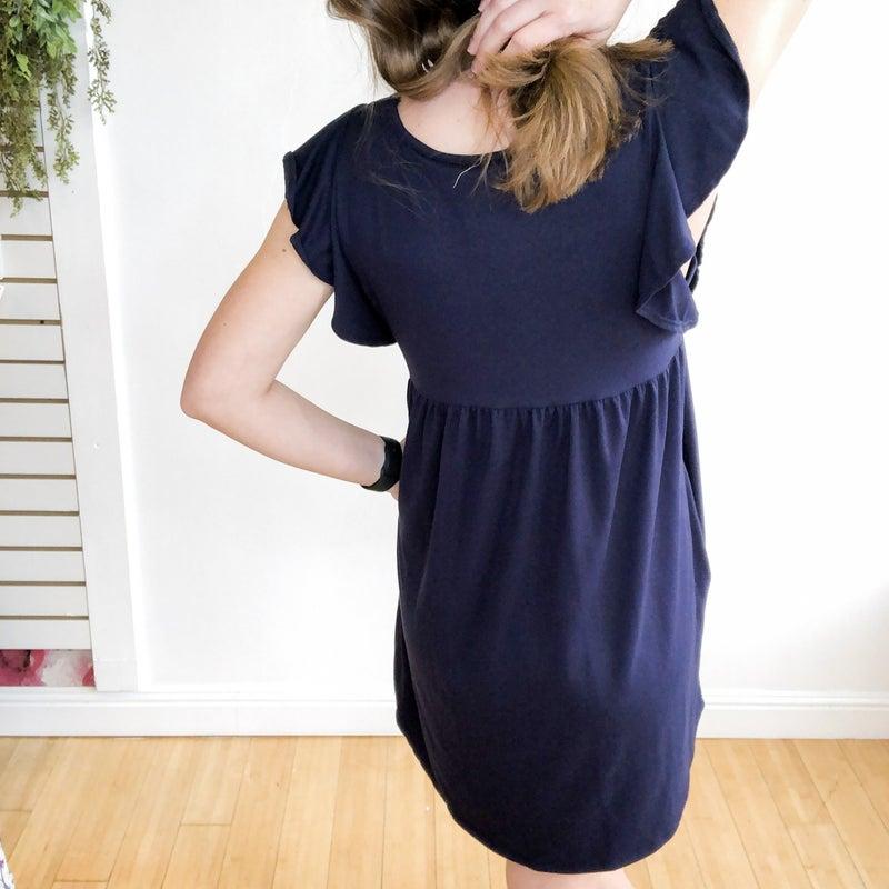 Simple Ruffle Dress in Navy