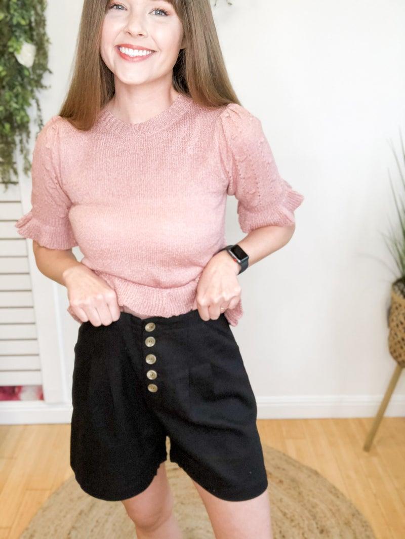 Black Button Shorts
