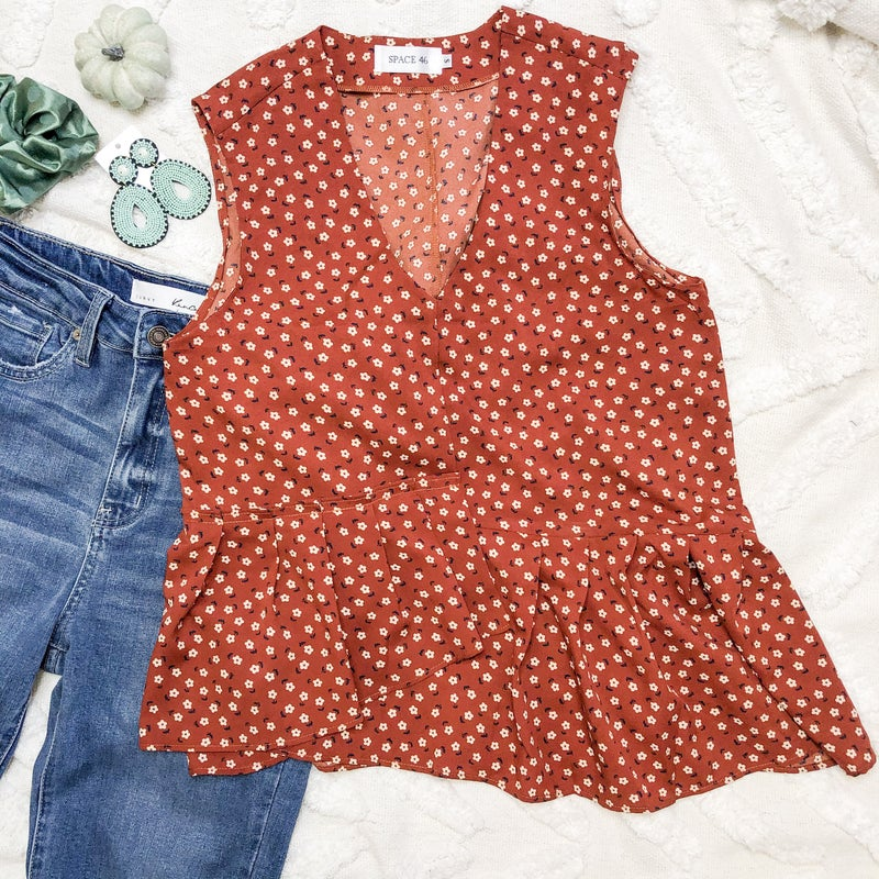 Rust Floral Top *Final Sale*
