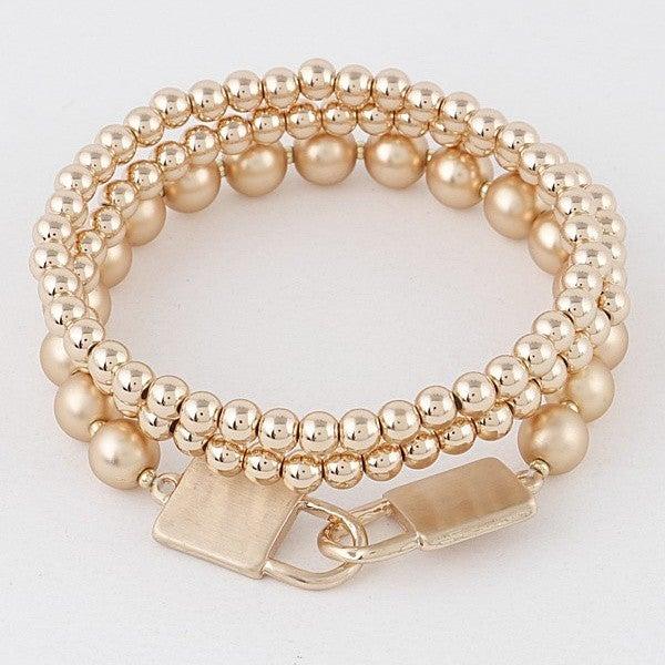 Gold Lock Bracelet Set
