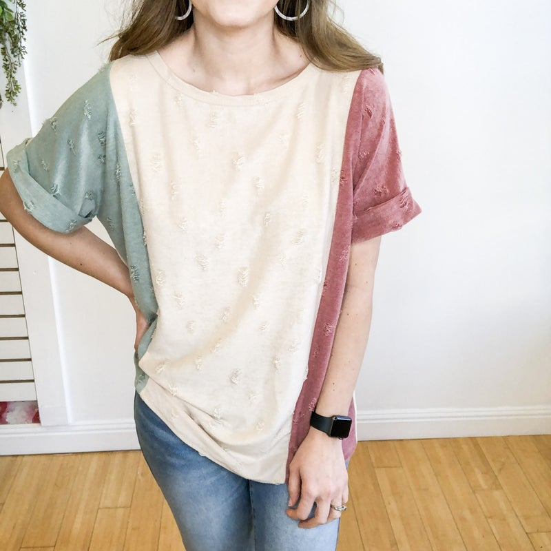 Color Block Distressed Top
