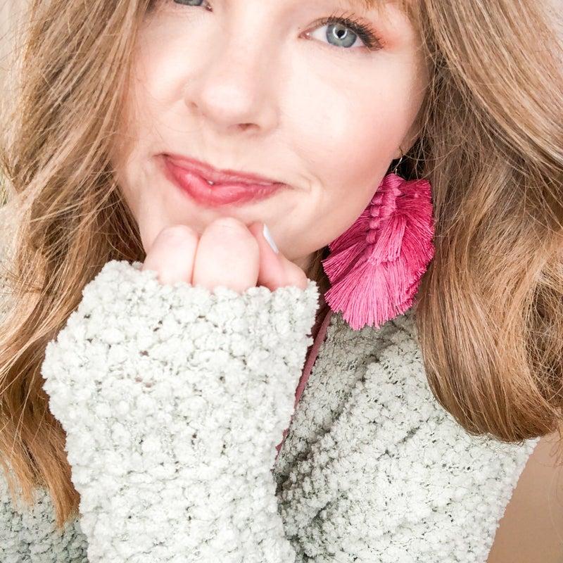 Pops of Pink Fringe Earrings  -2 colors