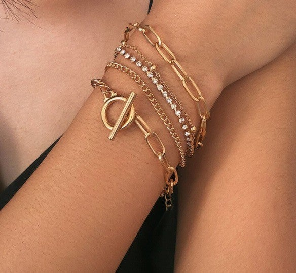 Layered Bracelet with crystals