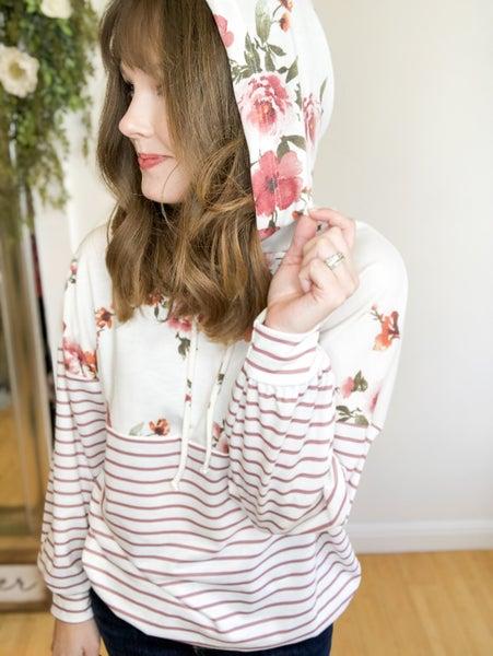 Floral + Stripe Block Hoodie+
