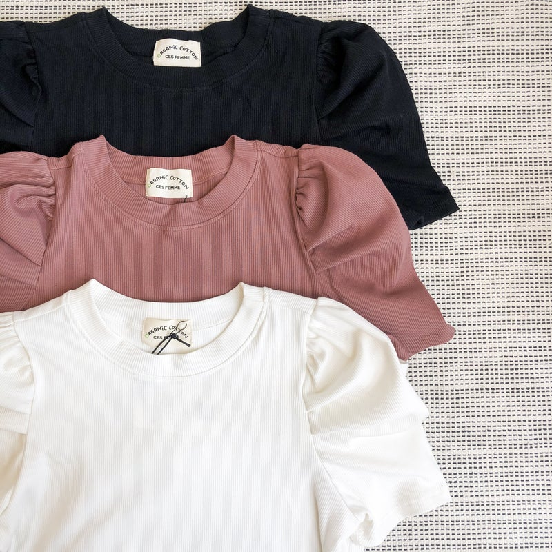 Puff Ribbed Top -3 colors