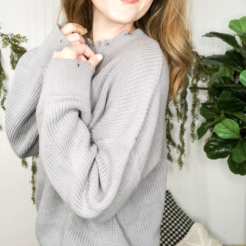 Neutral Frayed Sweater  - 4 colors