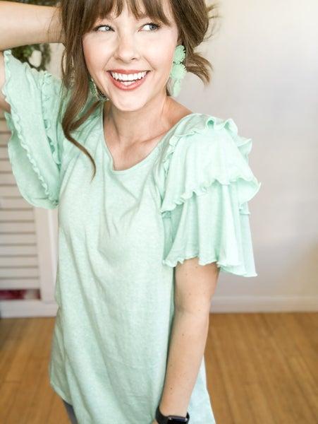 Ruffle Sleeve Top- 2 colors