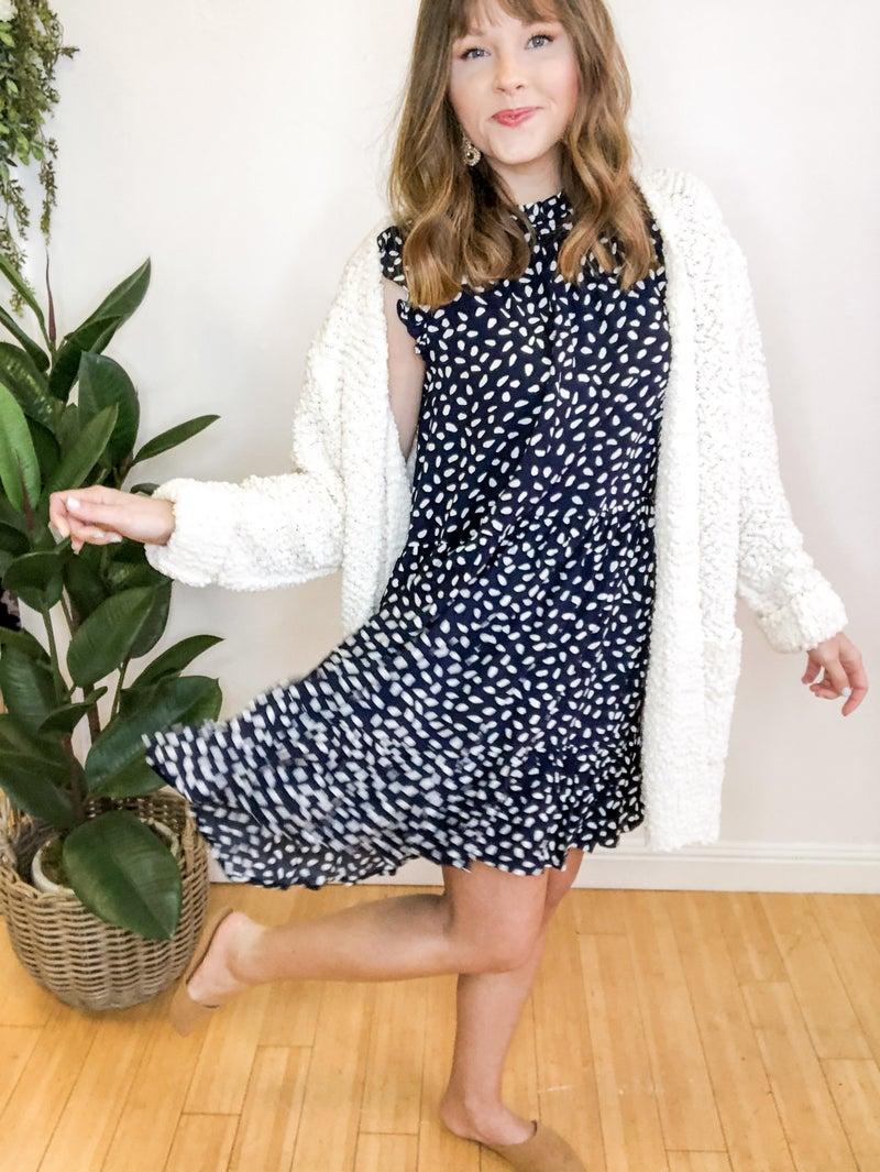Spotty Dot Dress in Navy