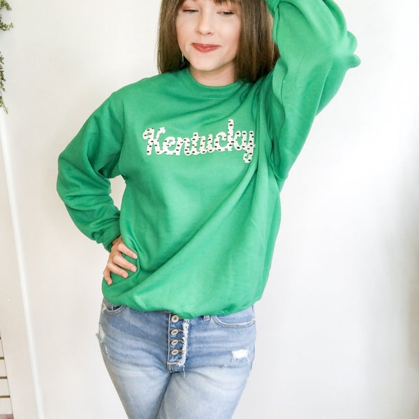 Kelly Green Spotty Dot Sweatshirt +