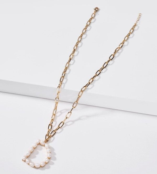 Initial Pearl Pendant Necklace
