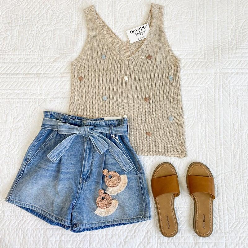 Pom Pom Sweater Tank - 2 colors