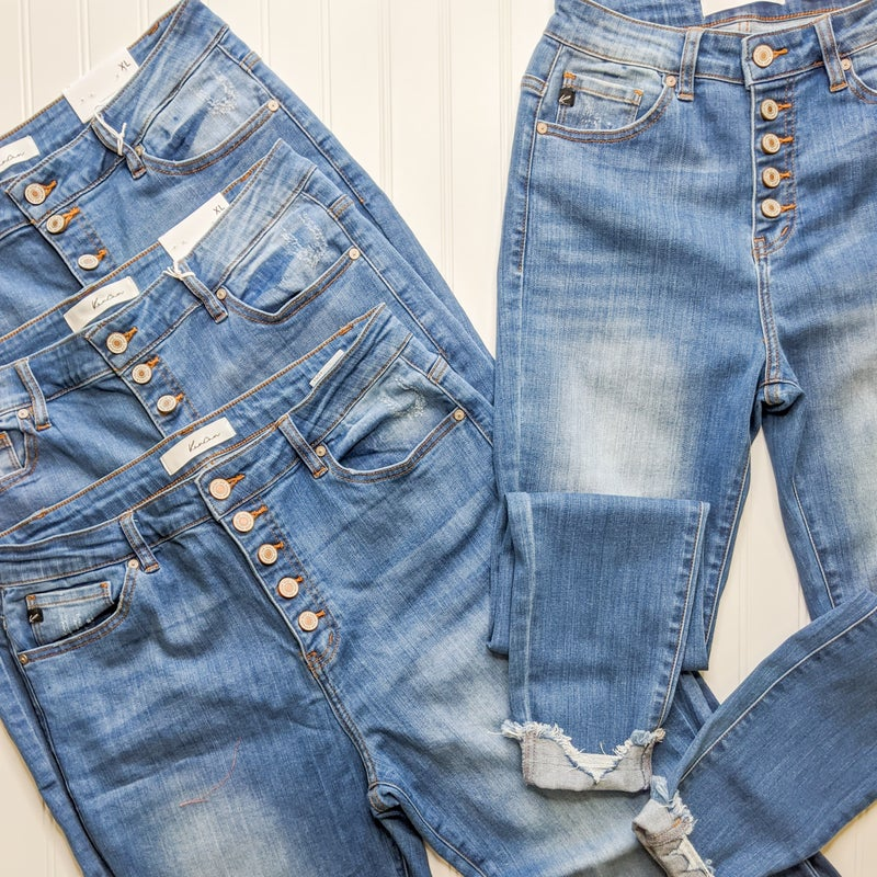 KanCan Button Fly High Rise Skinnies+