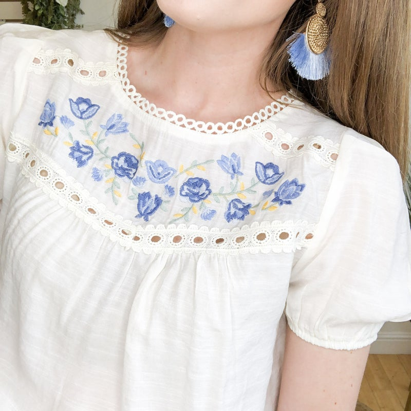 Ivory Blue Floral Blouse +