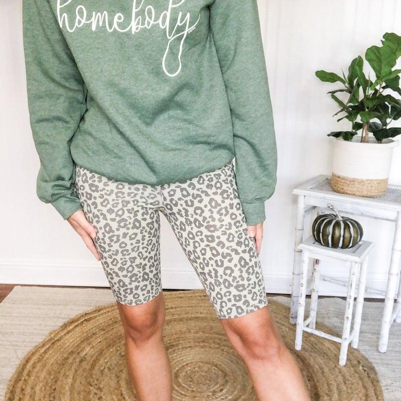Gray Leopard Biker Shorts *Final Sale*