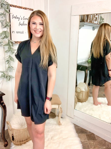 Black Collared Tunic Dress {ONLINE ONLY}*
