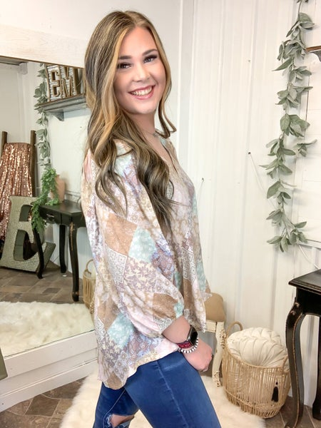 Taupe Paisley Balloon Sleeve Top (ONLINE ONLY)*
