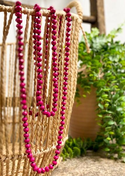 Fuchsia Crystal Bead Necklace