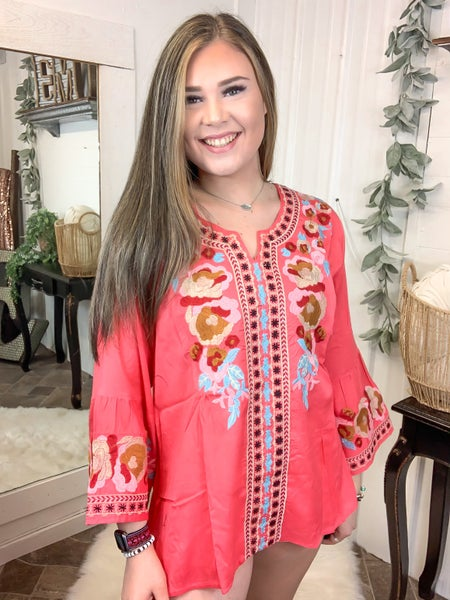 Coral Embroidered Bell Sleeve Top*