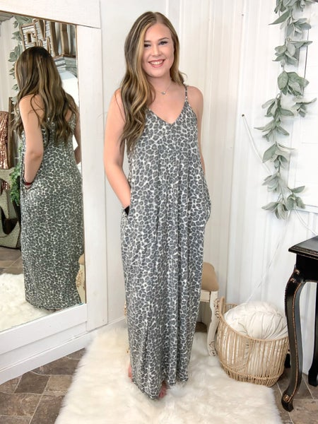 Grey Leopard Print Maxi Dress (ONLINE ONLY)*