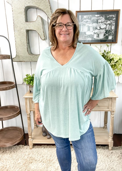 Sage Knit Bell Sleeve Top