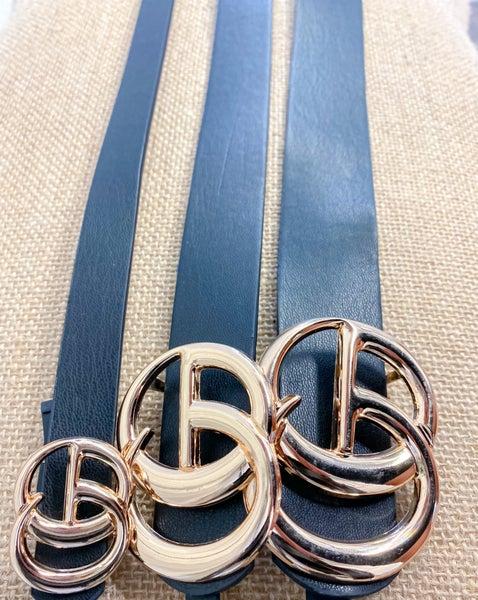 Black Faux Leather Fashion Belt - Set of 3 {ONLINE ONLY}*